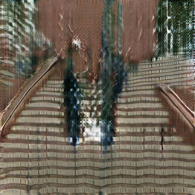abstract image of two figures on an outdoor staircase
