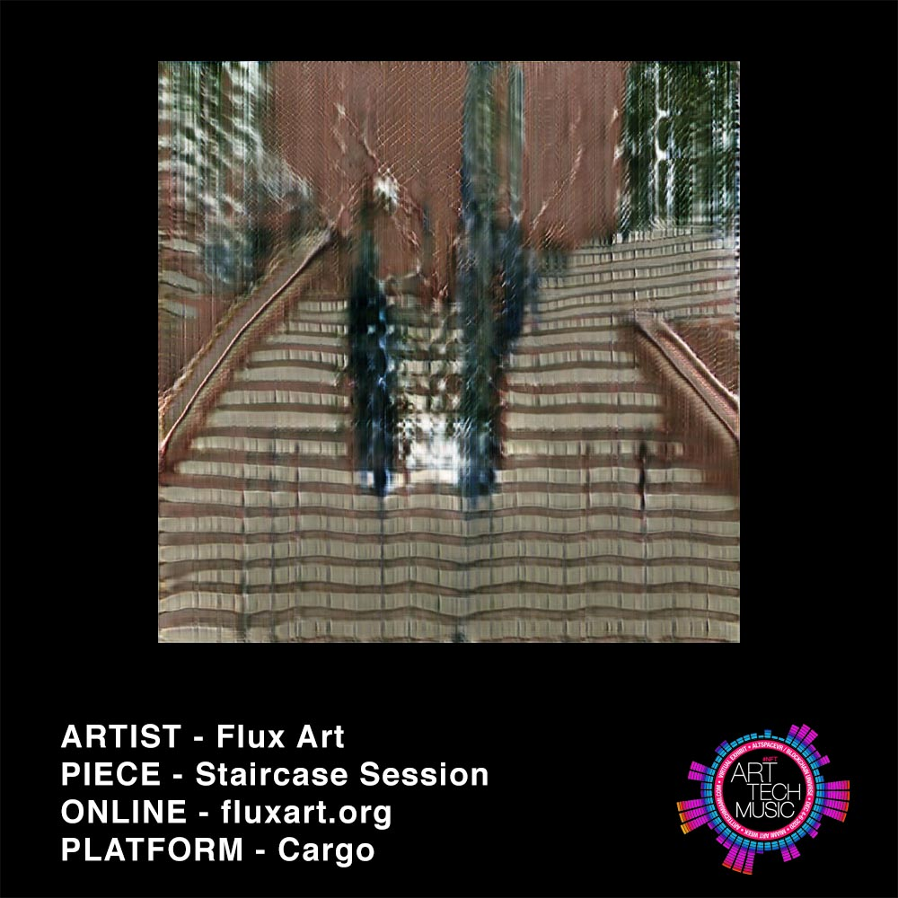 predominantly brown image of 2 abstract figures on stairs