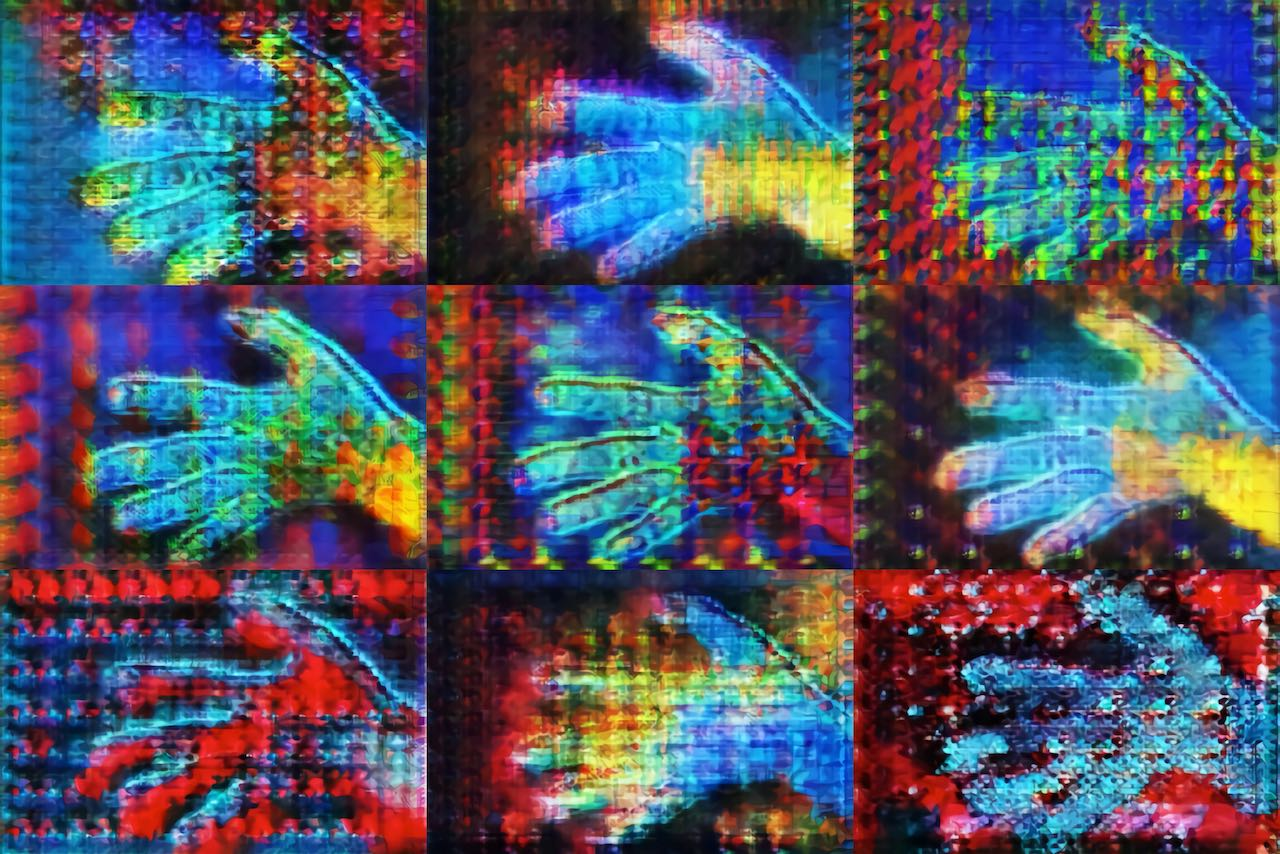 a grid of 9 multicolored images of a hand with fingers extended