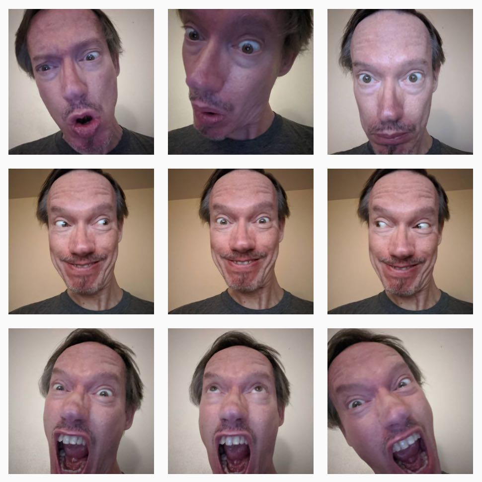 9 pictures of faces with extreme expressions in a square grid